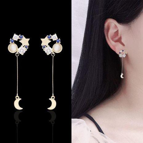 Temperament Star Moon Artificial Gemstone Drop Earrings NHDO158568's discount tags