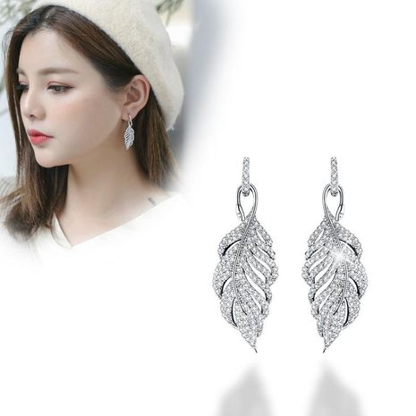 Fashion feather zircon s925 silver needle hollow leaf stud earrings NHDO158569's discount tags