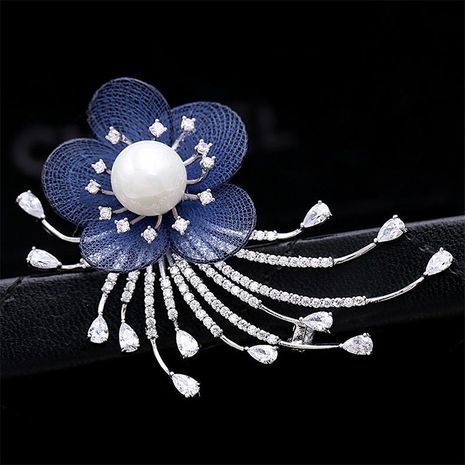 Fashion simple pearl mesh flower brooch NHDO158571's discount tags