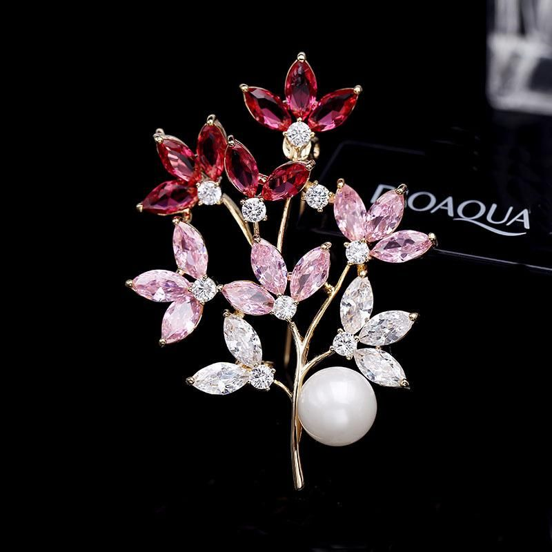 Womens Floral Copper Flower Brooches NHDO158582