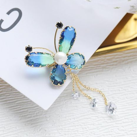 Stylish color butterfly micro with zircon brooch NHDO158586's discount tags