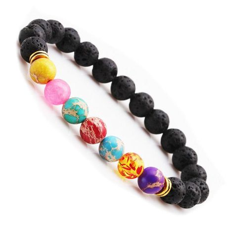 Colorful Chakra Energy Volcanic Stone Bracelet NHYL158590's discount tags