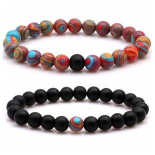 Fashion matte black matte stone malachite couple bracelet NHYL158601's discount tags