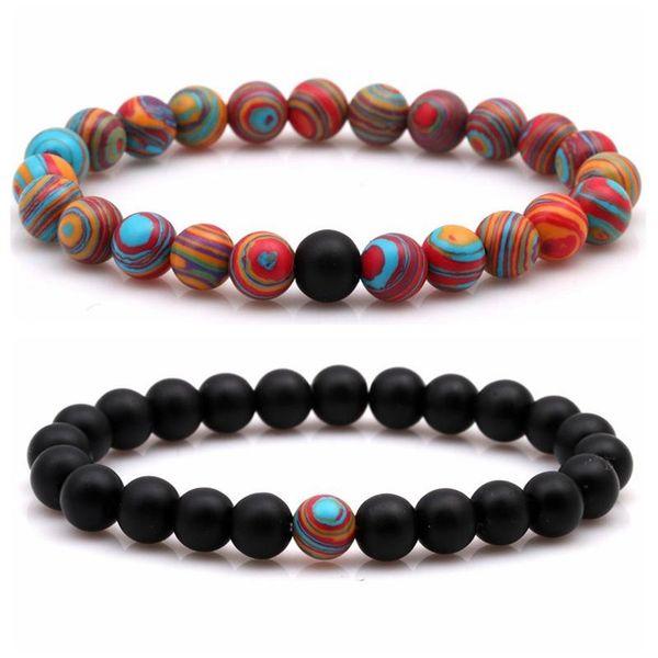 Fashion matte black matte stone malachite couple bracelet NHYL158601