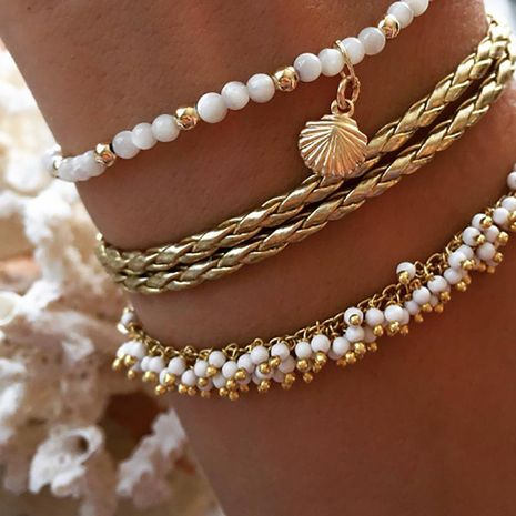 Fashion alloy rice beads fringed shells 3 sets of anklet bracelets NHGY170210's discount tags