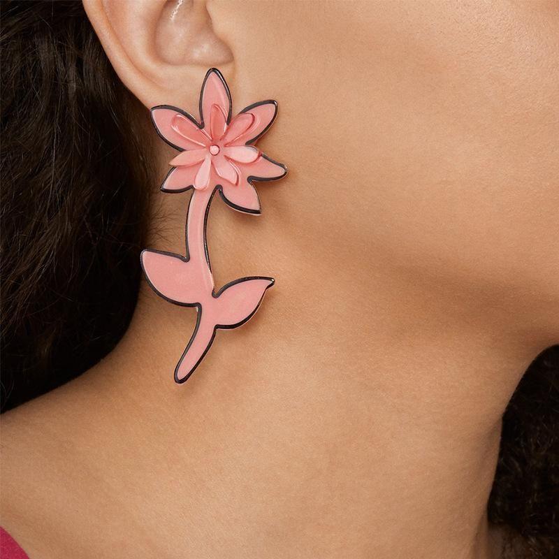 Fashion resin flower long earrings NHJQ170027