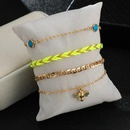 Bohemian Bee Multilayer Gold Bead Sapphire Wire Rope Anklet 4 Piece Set NHGY170212