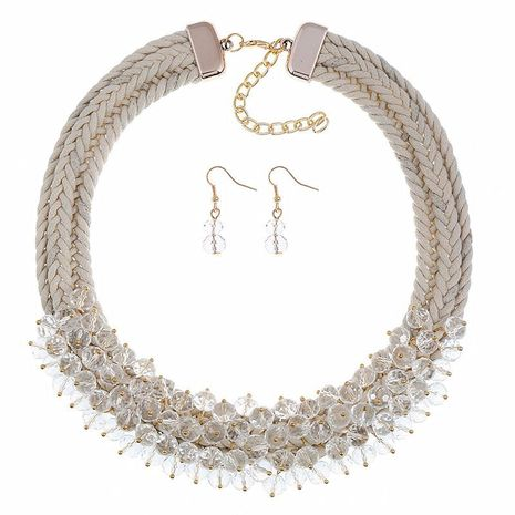New fashion crystal flower necklace hand-woven earrings set NHVA170434's discount tags