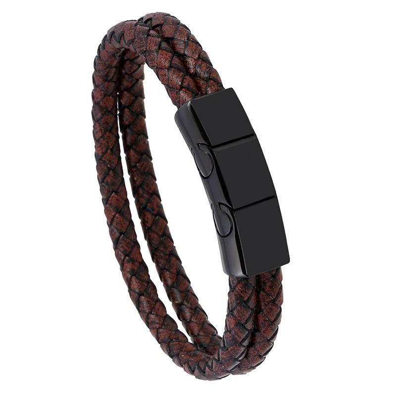 Simple creative woven stainless steel men's PU leather bracelet NHPK170326