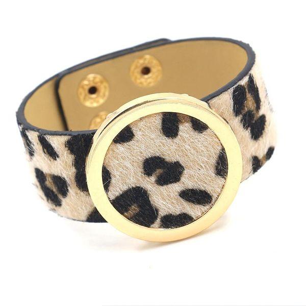 Fashion leopard horse hair PU imitation leather bracelet NHHM170346