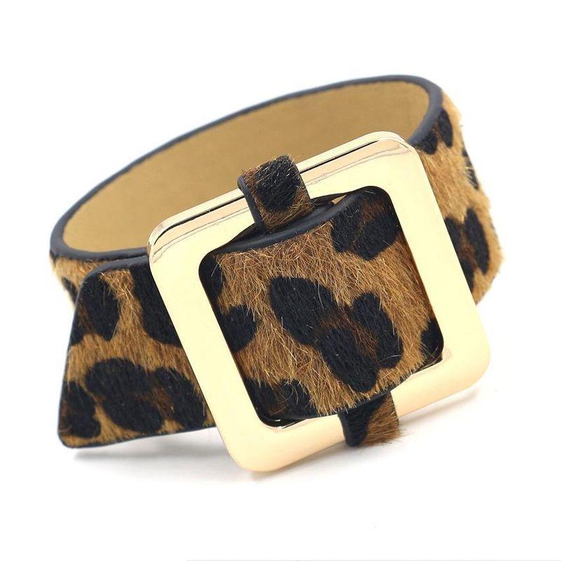 Fashion new leopard horse hair PU leather bracelet NHHM170348