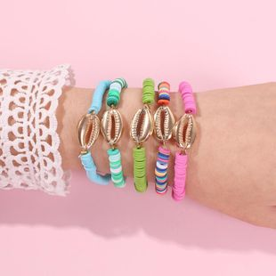 Fashion Candy Color Padded Alloy Shell Bracelet NHMD170454's discount tags