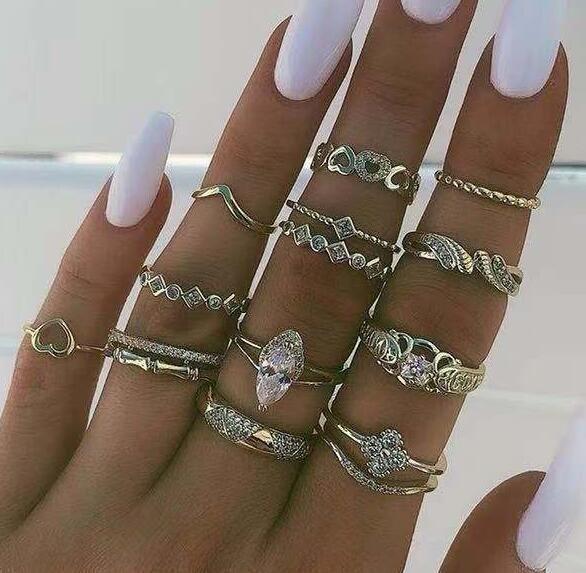 New alloy diamond drop ring set NHGY170381