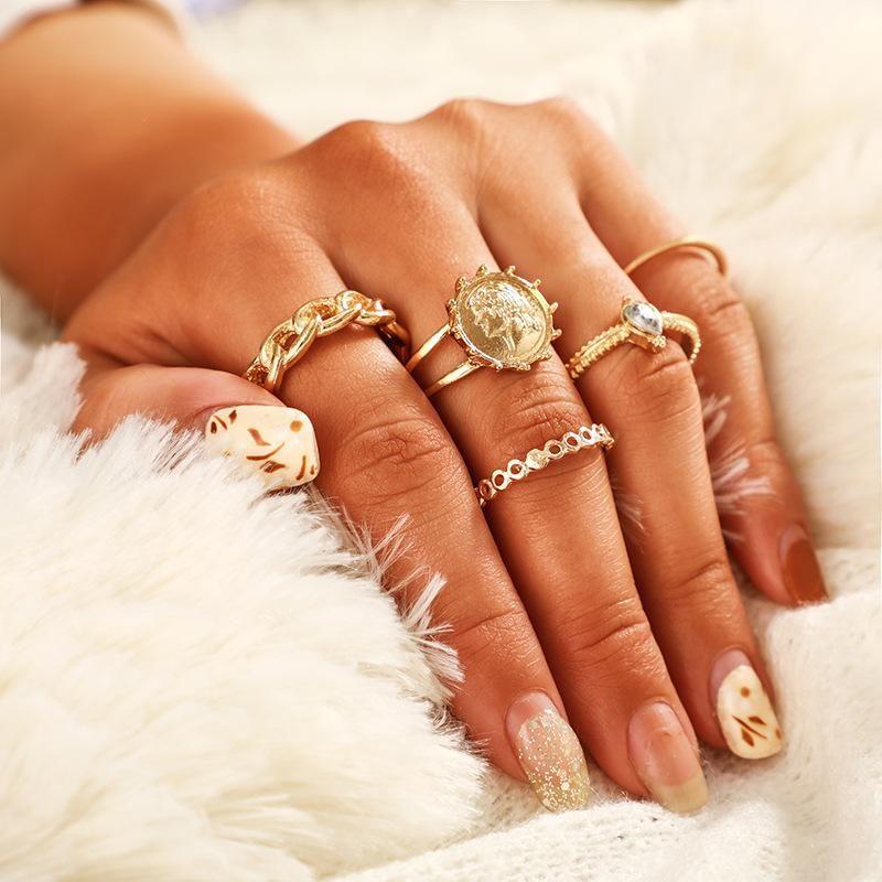 New diamond-studded badge name image ring set NHGY170384