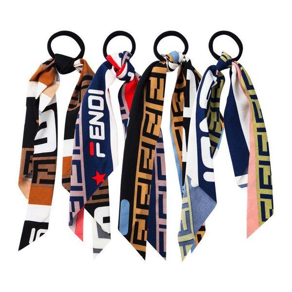 Fashion fruit pattern cloth hair ring black headband bow ribbon ribbon big intestine ring NHLN170315