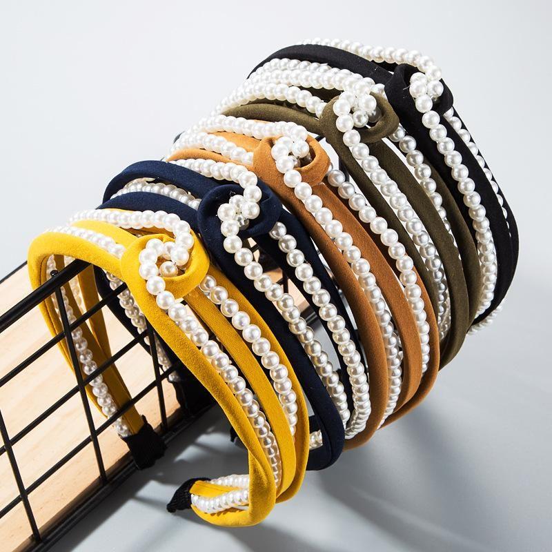 Fashion cloth solid color pearl headband NHLN170043