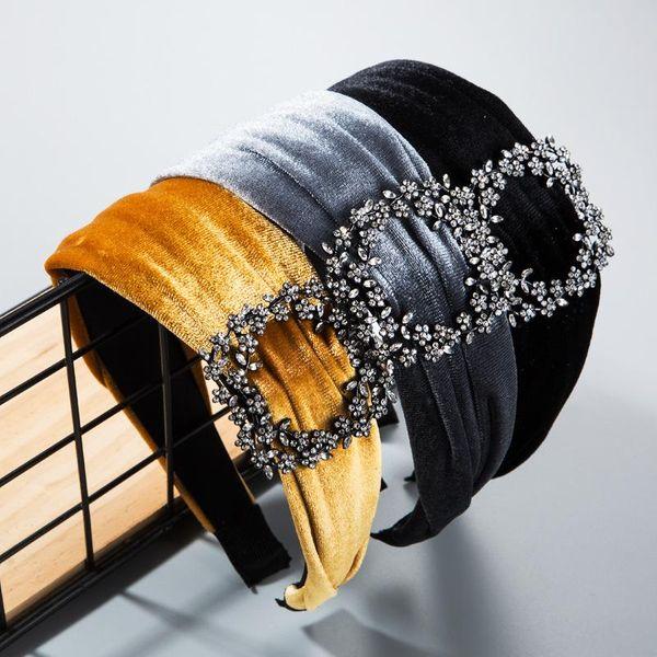 Simple gold velvet color rhinestone fashion headband NHLN170058