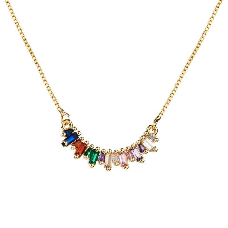 Stylish color zircon geometric semicircular necklace NHLN170037