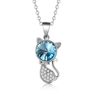 Fashion micro-inlaid zircon cat Austrian crystal necklace NHLJ170135's discount tags