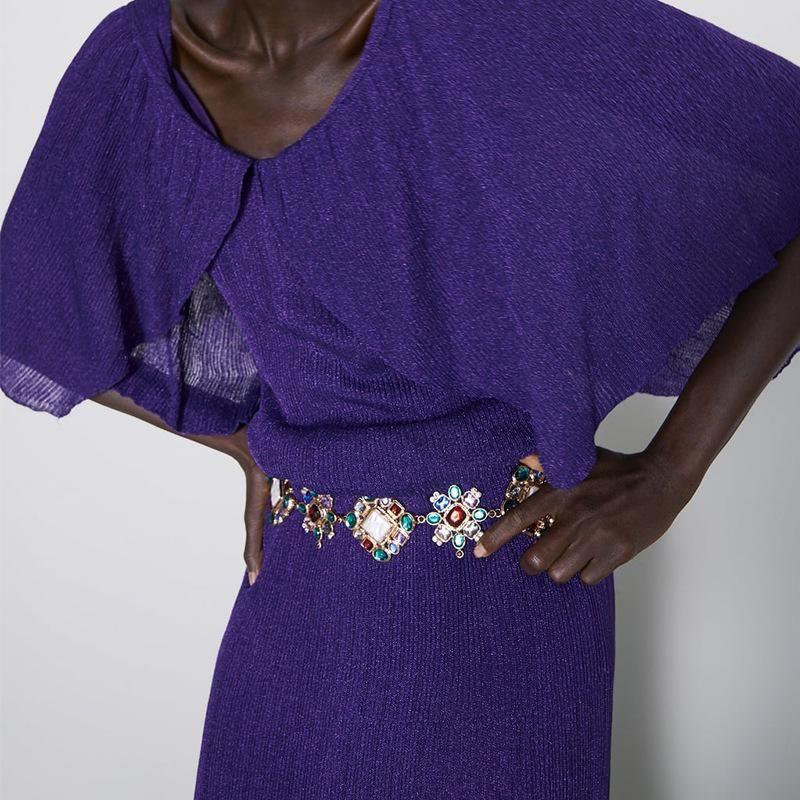 Fashion alloy artificial gemstone waist chain bracelet NHJQ170033