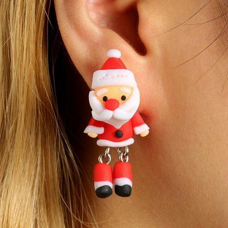 New cartoon three-dimensional Santa Claus soft clay earrings NHGY170189's discount tags