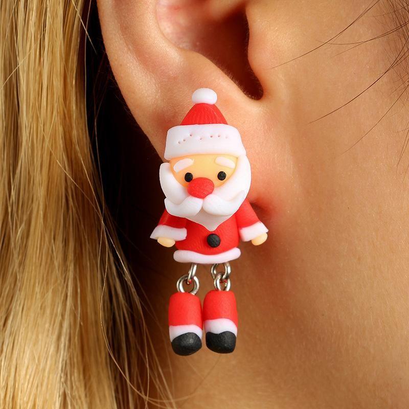 New cartoon three-dimensional Santa Claus soft clay earrings NHGY170189