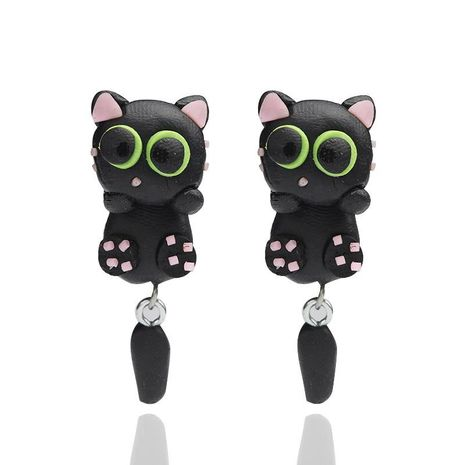 Fashion Cartoon Animal Black Cat Soft Ceramic Earrings NHGY170194's discount tags