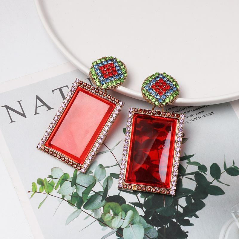 New retro geometric square red earrings NHJJ170291