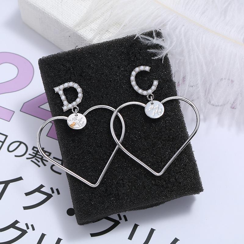 Fashion heart-shaped silver-plated zircon earrings NHKQ170142