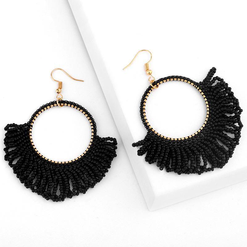 Fashion geometric fan-shaped rice beads earrings NHAS170282