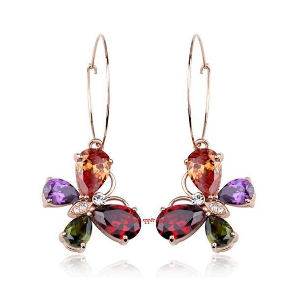 Delicate butterfly zircon hoop earrings NHLJ170123