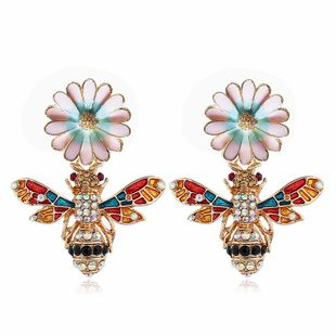 Fashion Alloy Bee Vintage Flower Diamond Stud Earrings NHVA170440's discount tags