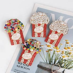 New popcorn cup color diamond stud earrings NHJJ170295's discount tags