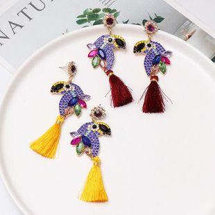 Fashion parrot studded tassel earrings NHJJ170297's discount tags