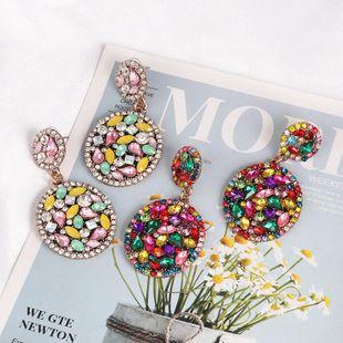 New retro geometric water drop color mosaic stud earrings NHJJ170301's discount tags