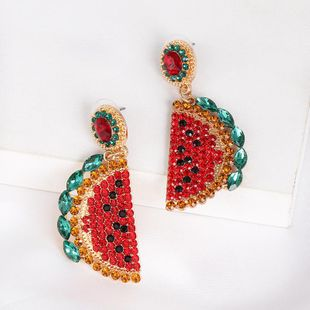 New retro watermelon fruit color mosaic stud earrings NHJJ170302's discount tags
