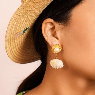 New shell enamel shell with gold-rimmed pearl earrings NHGY170208's discount tags