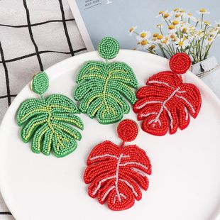 New simple leaf colored beads earrings NHJJ170285's discount tags
