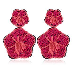 Vintage bohemian fan-shaped bead earrings NHKQ170154's discount tags