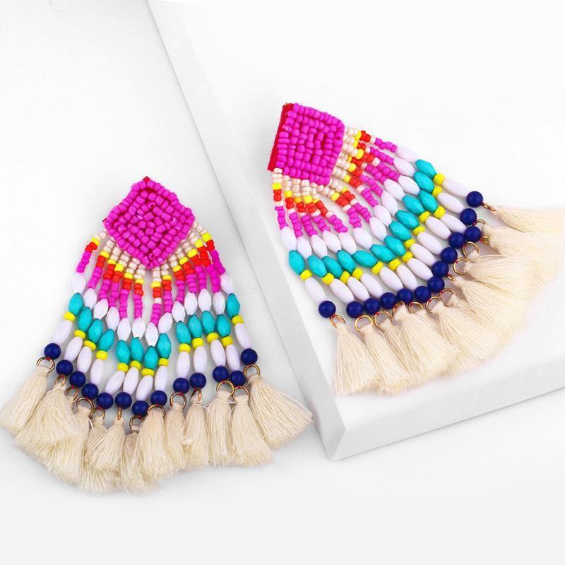 Bohemian hand-woven long geometric rice beads tassel earrings NHAS170283