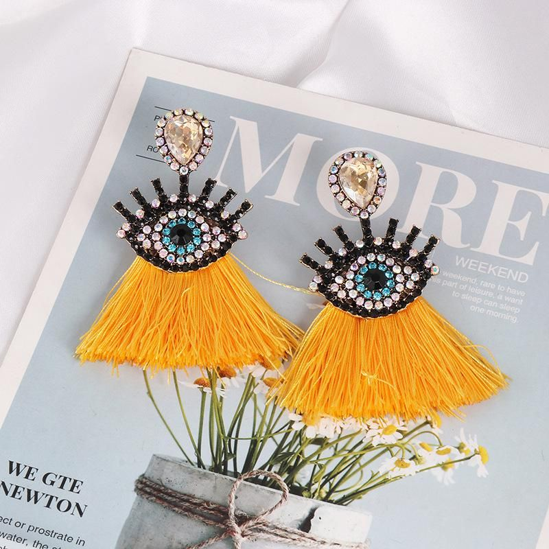 Fashion vintage diamond eye tassel earrings NHJJ170304