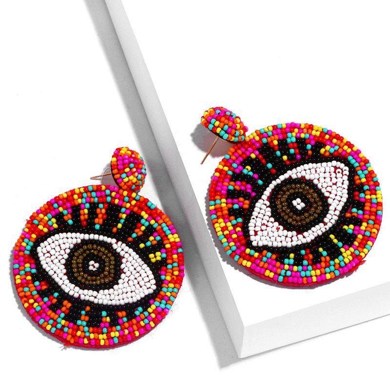 Round Colored Rice Beads Devil's Eye Earrings NHAS170280