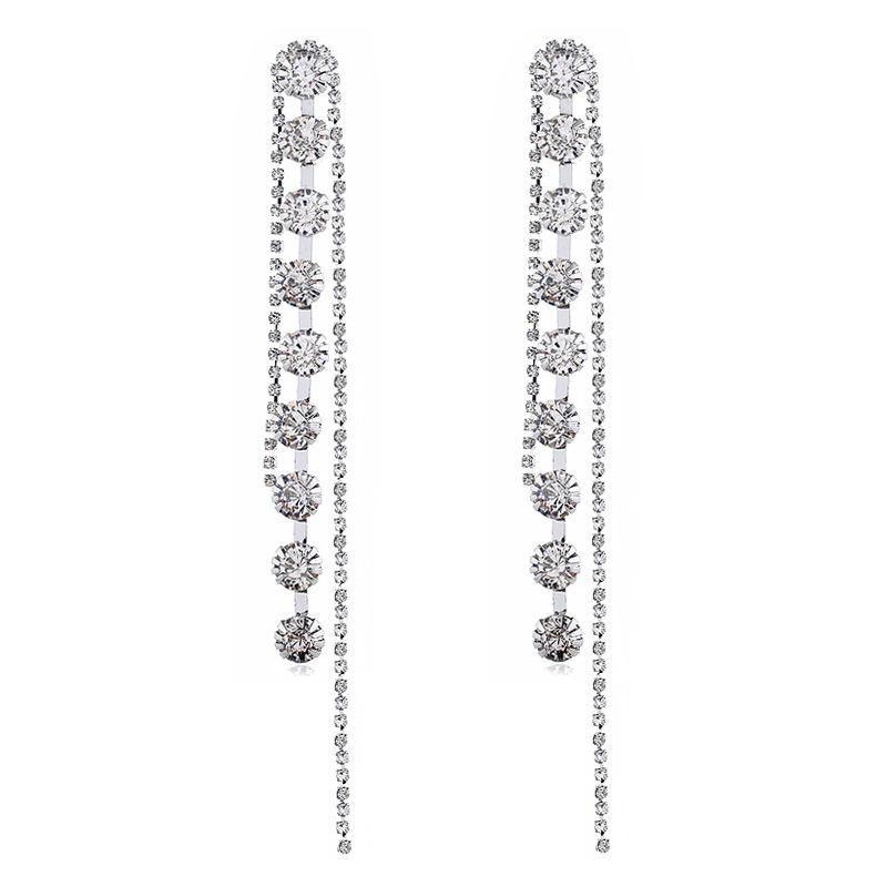 Fashion long rhinestone diamond earrings NHVA170437