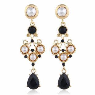 Fashion new pearl geometry long diamond stud earrings NHVA170460's discount tags