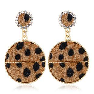 Fashion Diamond Leopard Round Stud Earrings NHVA170466's discount tags
