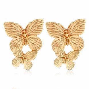 Fashion exaggerated multicolor alloy butterfly short earrings NHVA170469's discount tags