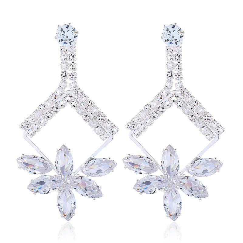 Fashion crystal diamond jewel long flower earrings NHVA170470