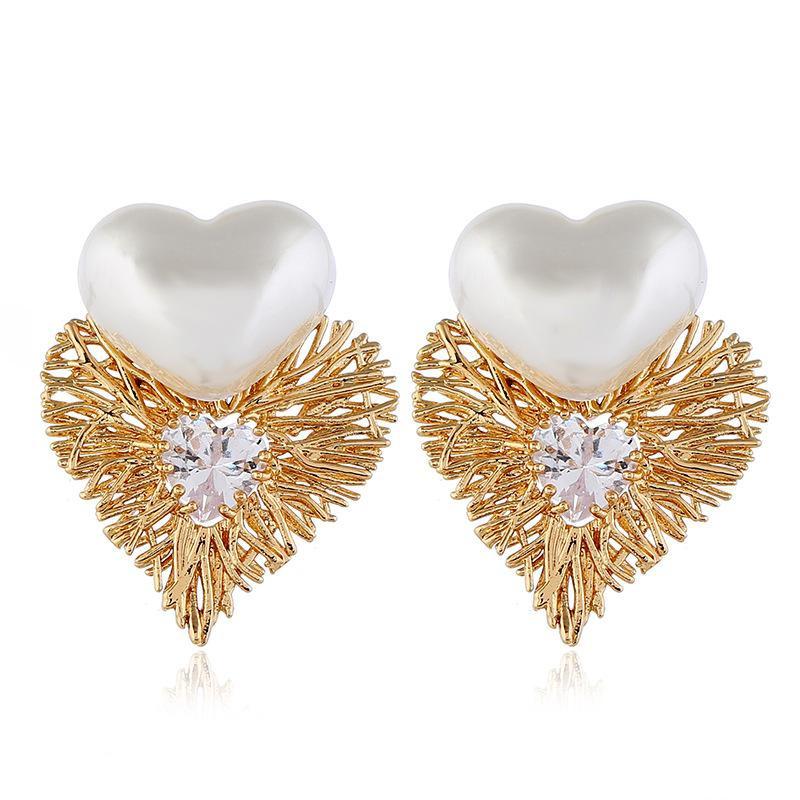 Fashion vintage love diamond earrings NHVA170484