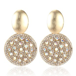 Fashion gold micro-encrusted round short earrings NHCT170393's discount tags