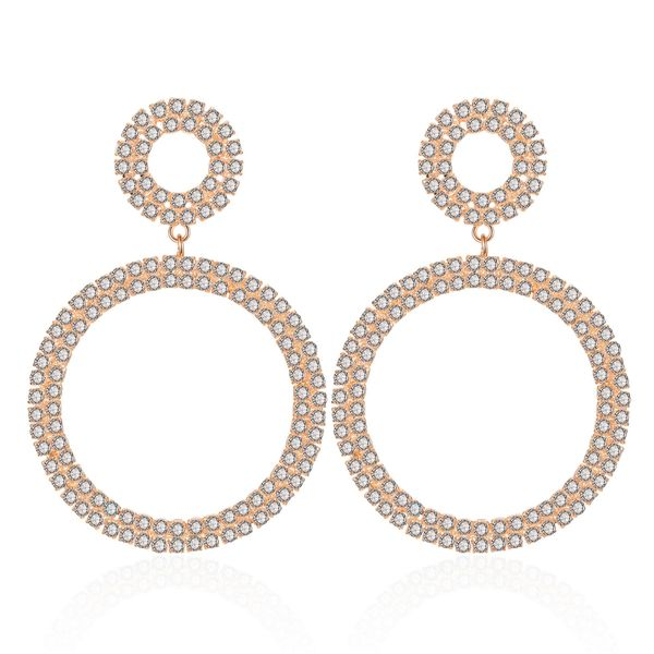 Geometric Circle Alloy Diamond Earrings NHCT170398